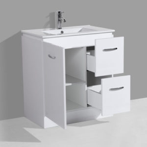 750mm Floor Mounted Gloss White Bathroom Furniture