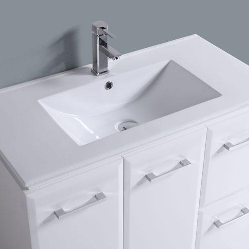 900mm Square Handle Gloss White Bathroom Cabinet
