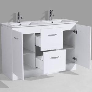 Double Sink Gloss White Floor Mounted Vanity Unit