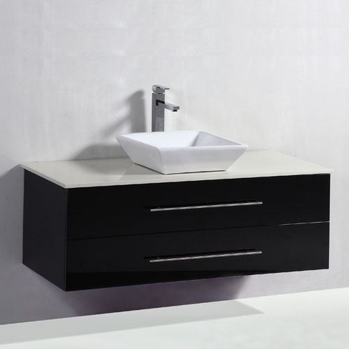 Gloss Black Wall Hung Above Counter Vanity Set