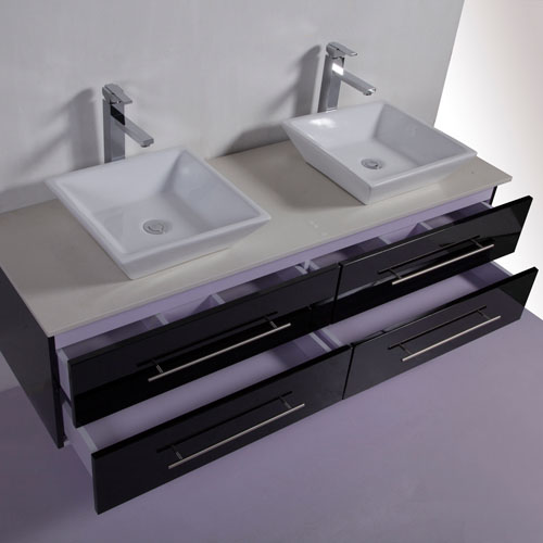 Gloss Black Double Sink Wall Hung Vanity Unit