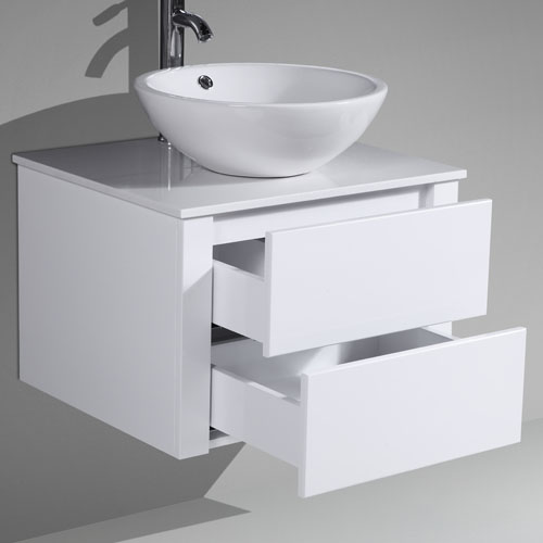 Small MDF Vanity Push To Open Drawers Stone Benchtop