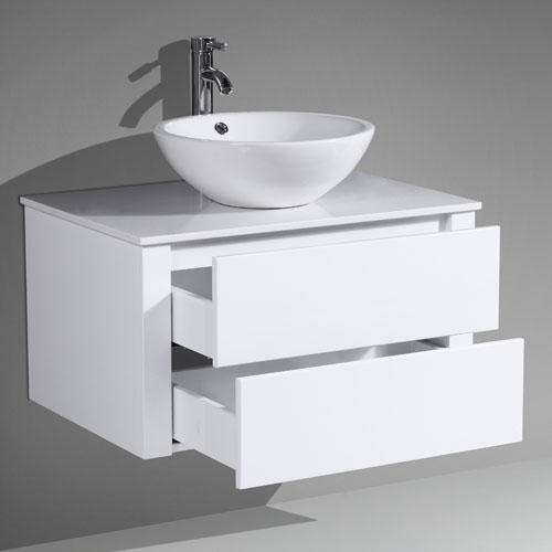 Wall Hung MDF Vanity Push To Open Drawers Stone Countertop