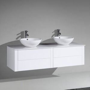 Double Sink MDF Vanity Push To Open Drawers