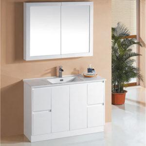 1200mm Floor Mounted Finger Pull Vanity White Single Sink
