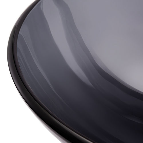 Round Glass Bowl Transparent Grey Glass Basin