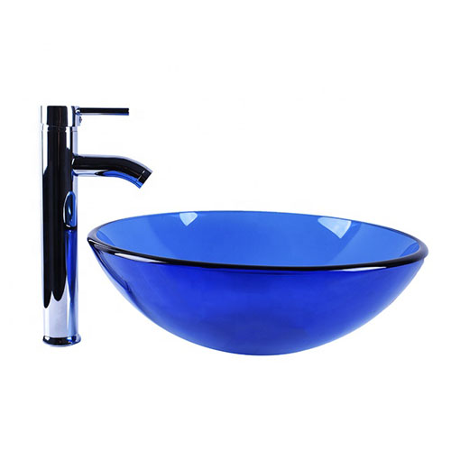 Round Glass Bowl Transparent Blue Basin