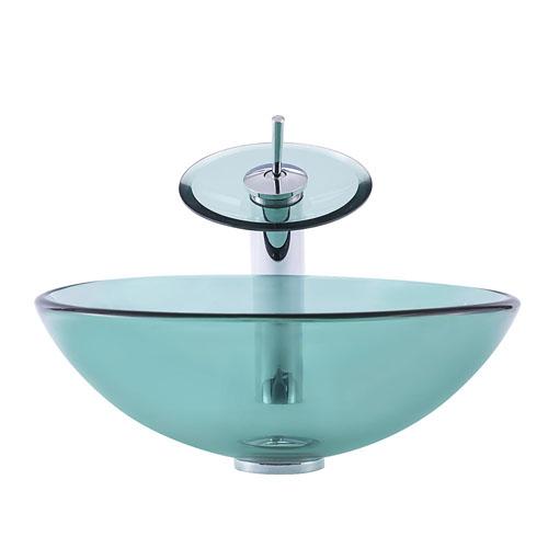 Round Glass Bowl Transparent Green Basin