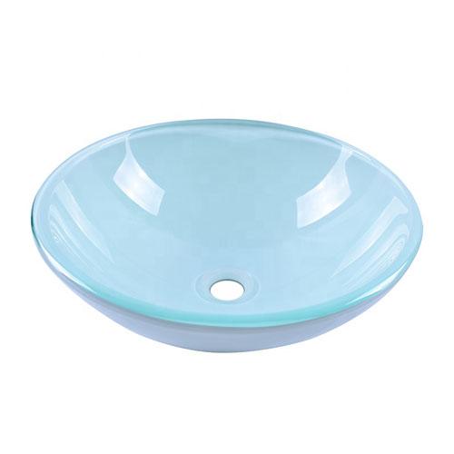 Round White Glass Bowl Vanity Sink