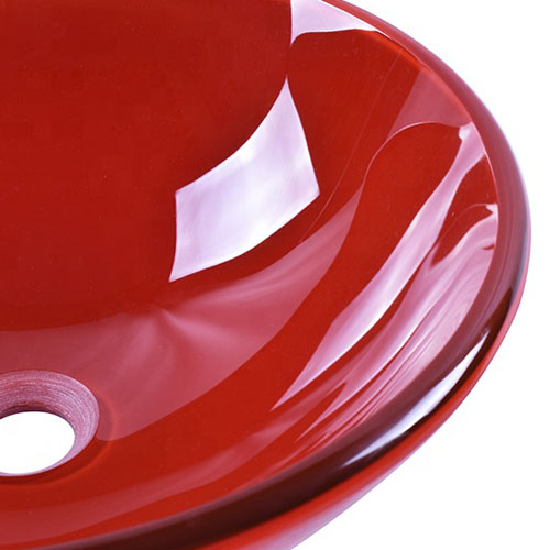Round Red Glass Bowl Tempered Basin