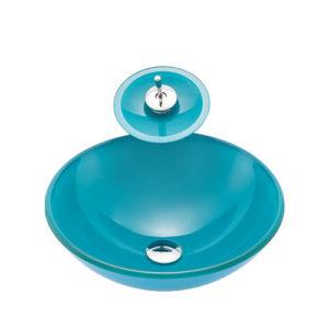 Round Turquoise Glass Bowl Vanity Basin