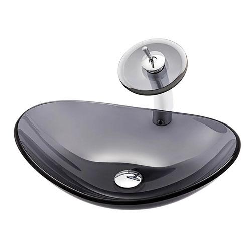 Boat Glass Basin Transparent Grey Vessel Sink