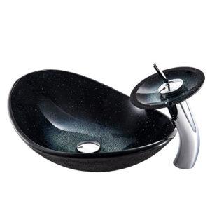 Boat Black Glass Basin Sparkle Sink