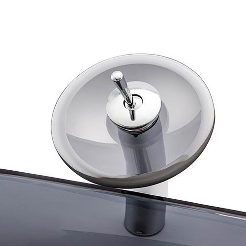 Square Glass Bowl Transparent Grey Glass Sink