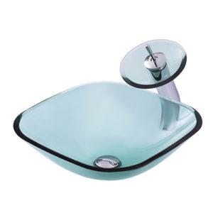 Square Glass Bowl Transparent Green Vessel Sink