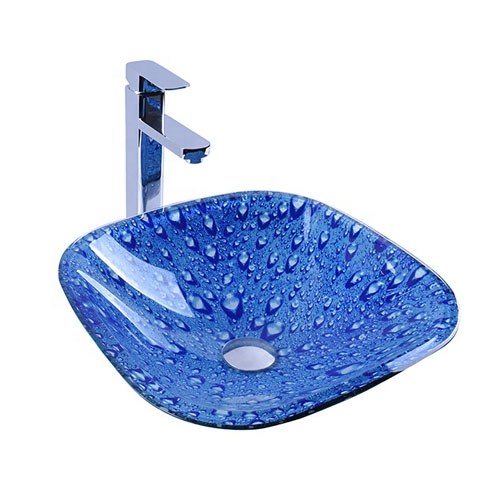 Square Double Layer Glass Bowl Bathroom Sink
