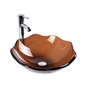Lotus Glass Bowl Transparent Brown Basin