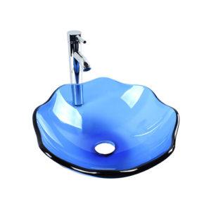 Lotus Glass Bowl Transparent Blue Above Basin