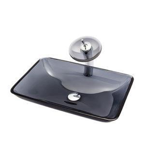 Rectangular Glass Basin Transparent Grey Glass Sink