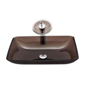 Rectangular Glass Basin Transparent Brown Sink