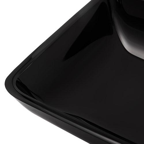 Rectangular Black Glass Basin Single Sink