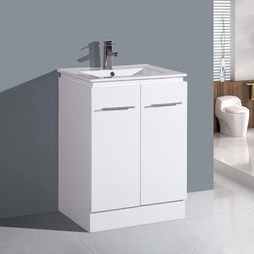 600mm Floor Mounted Gloss White Vanity Two Doors