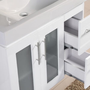 Thick Vitreous China Sink Glass Door Vanity Unit