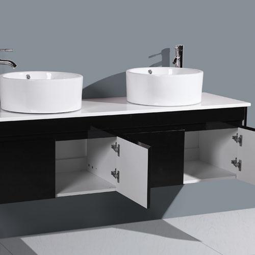 Stone Top Gloss Black Double Basin Vanity Unit