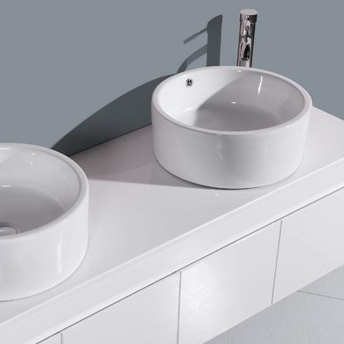 Stone Top Gloss White Double Basin Vanity Set