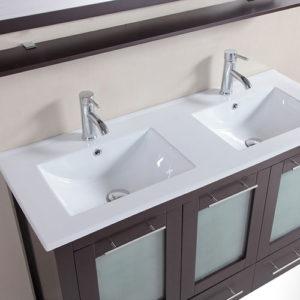 Matte Black Vanity Double Ceramic Sink Porcelain Basin