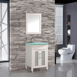 Wood Vanity Unit With Glass Sink 600mm Wide