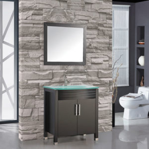 Wood Vanity Set With Glass Sink 750mm Wide
