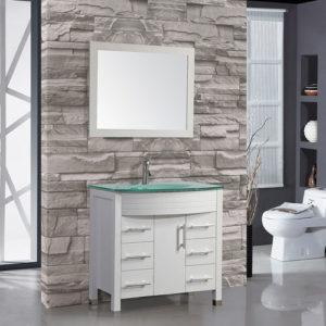 Wood Bathroom Vanity Single Glass Sink 900mm Wide