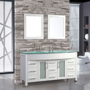 Wood Bathroom Vanity Double Glass Sink 1500mm Width