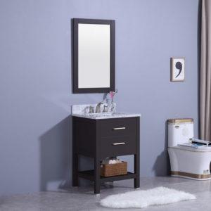 Small Wood Vanity Natural Marble Top Ceramic Sink