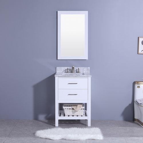 Tiny Wood Vanity Natural Marble Top Porcelain Sink