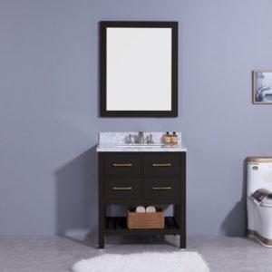 Matte Black Vanity Marble Top Undermount Sink 30inch