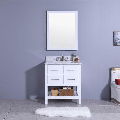 Matte White Vanity Marble Top Undermount Sink 30inch