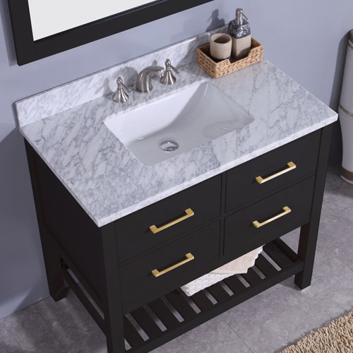 Bathroom Vanity Unit Marble Top Undermount Ceramic Sink