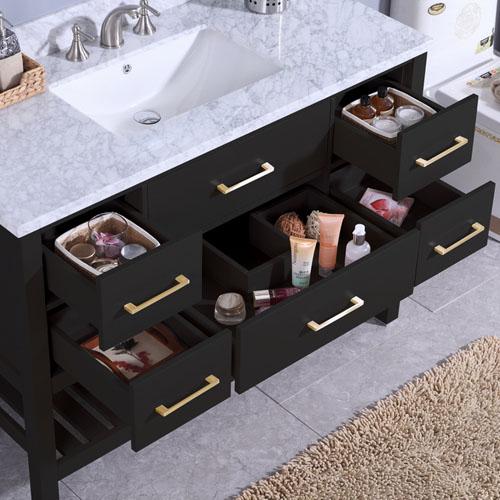 Floor Espresso Vanity Marble Top Undermount Ceramic Sink