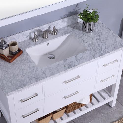 Floor Standing Vanity Marble Top Undermount Ceramic Sink