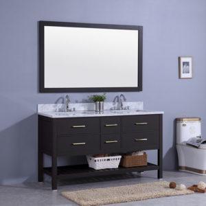 1500mm Vanity Unit Marble Top Double Undermount Sink