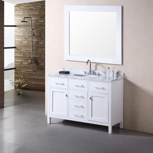Traditional Matte White Vanity Set Stone Top