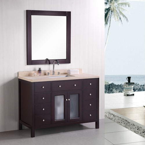 Traditional 1200mm Vanity Unit Marble Top Single Sink