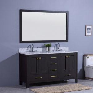 Traditional 60inch Black Vanity Double Undermount Sink