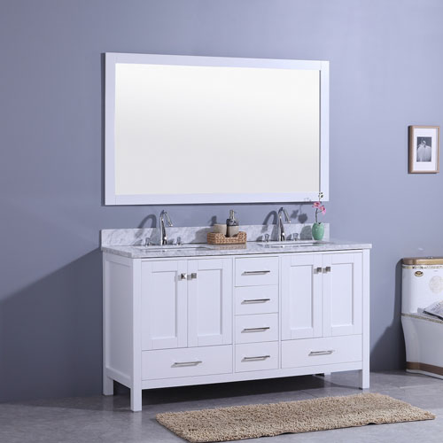 Traditional 60inch White Vanity Double Undermount Sink