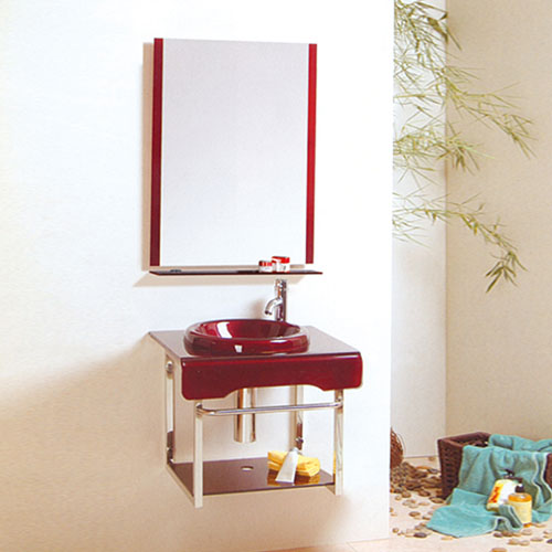 Small Glass Vanity Unit With Mirror Factory China