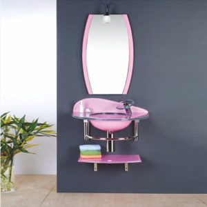 Pink Glass Vanity Unit With Mirror Supplier China