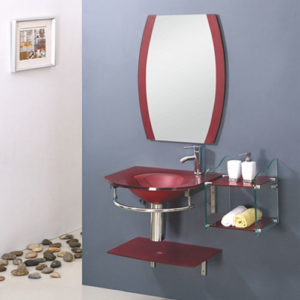 Red Glass Vanity Unit With Mirror Manufacturer China