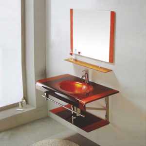Colorful Glass Vanity Unit With Mirror Exporter China